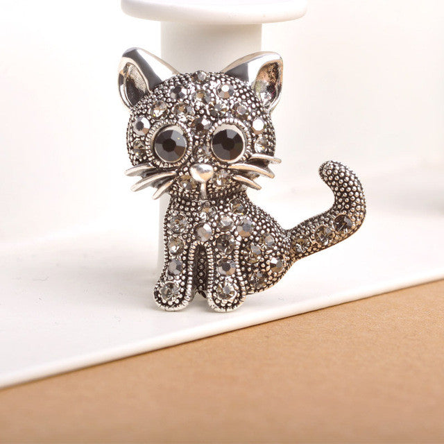 Cute Little Cat Antique Brooch