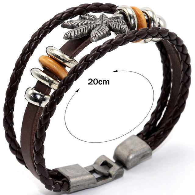 Leather Vintage Braided Bangle Bracelet
