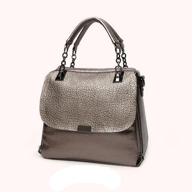 Metallic Leather Women Shoulder Designer Bag