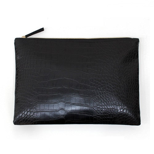 Crocodile Grain Women's Leather Envelope Clutch