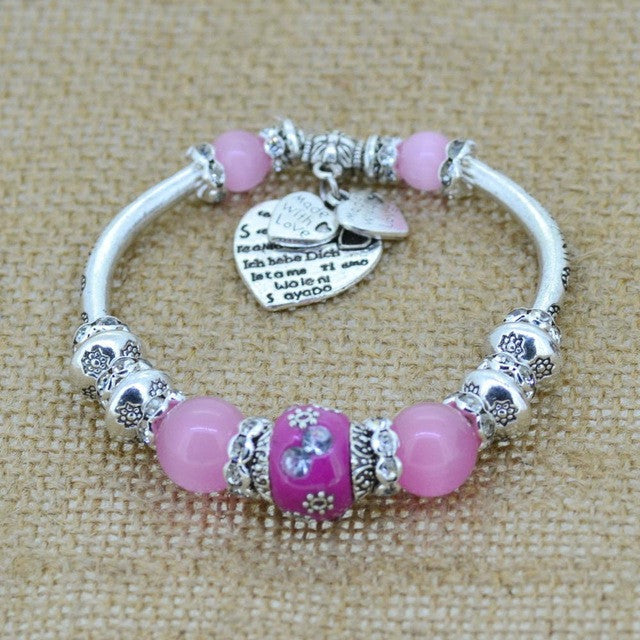 Silver Plated Glass Beads Love Heart Charm Bracelets & Bangles