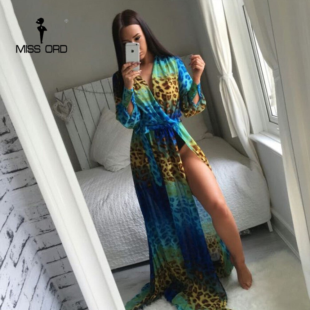 Sexy Leopard Print Maxi Floor length Dress