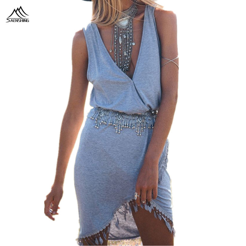 Summer Beach Dress Deep V-neck Sexy Boho Tassel Dress