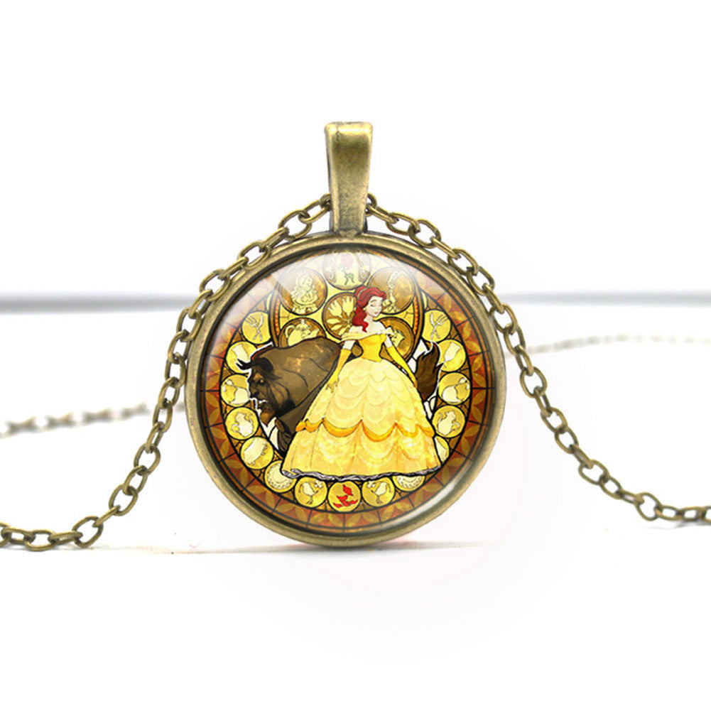 2017 Beauty and the Beast Inspired Glass Pendant