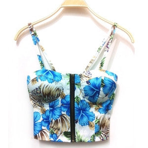 Sexy Zipper Floral Vintage Padded Bustier Cropped Top