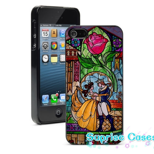 red rose stained glass beauty beast fashion cell phone case