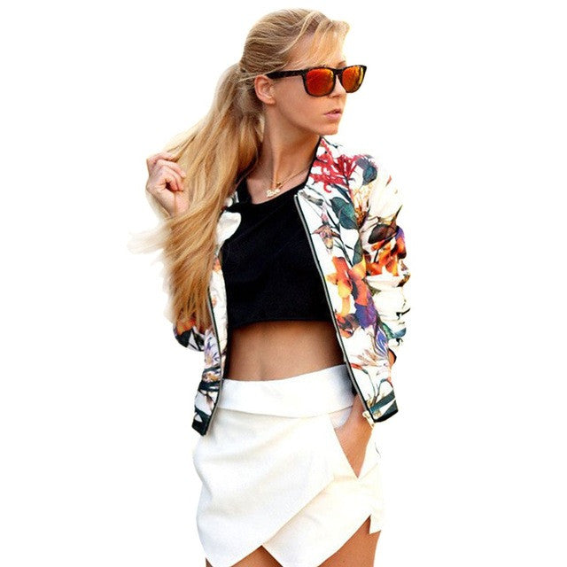 Casual Spring Floral Bomber Jacket