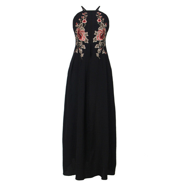 Summer Backless Floral Embroidered Maxi Dress