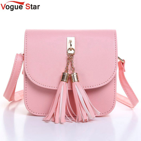 f65af70a86b3 Cute Small Candy Color Tassel Messenger Bag