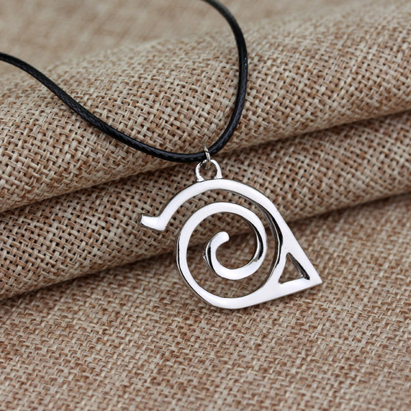 Naruto Pendant Necklace Double Bands Konoha Sign For Men And Women