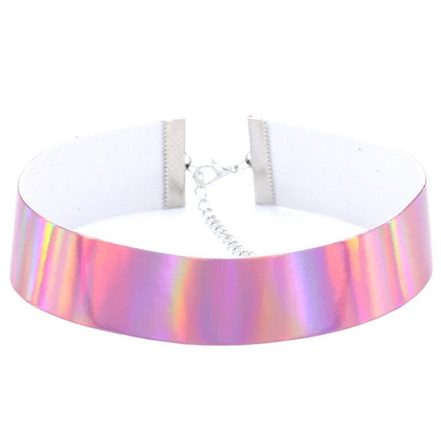 Leather Holographic Choker Laser Necklace Rainbow Punk Gothic Necklace