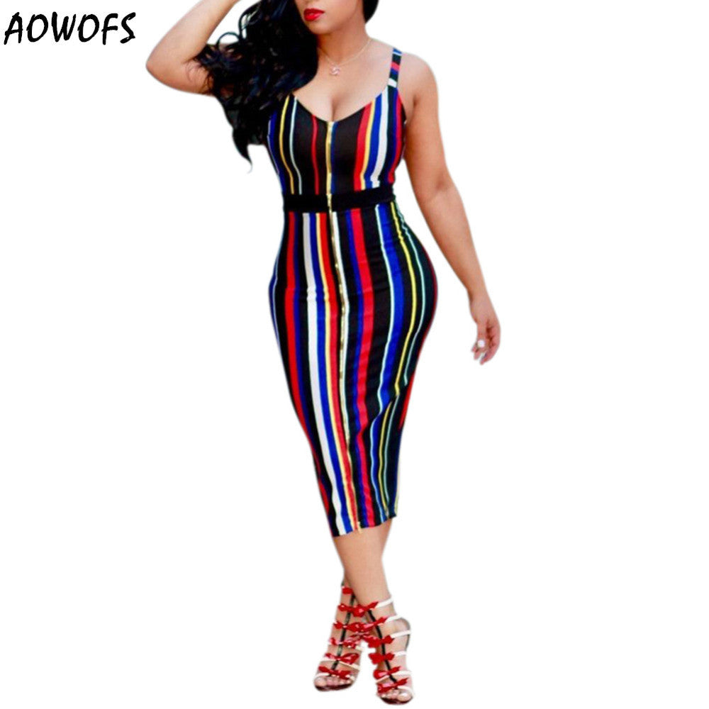 Sexy Sheath Deep V-Neck Striped  Party dress