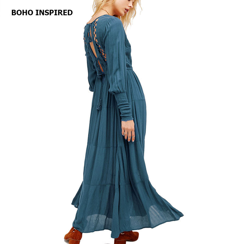 Bohemian Style Long Sleeve Hippie Maxi