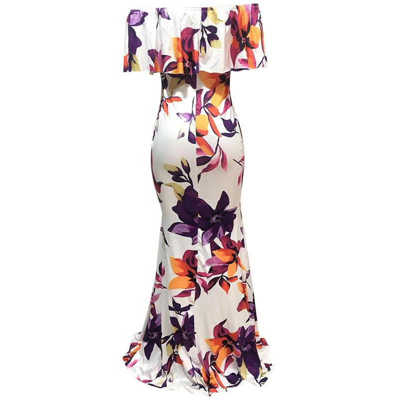 Off Shoulder Floral Printed Floor Length Maxi Dress