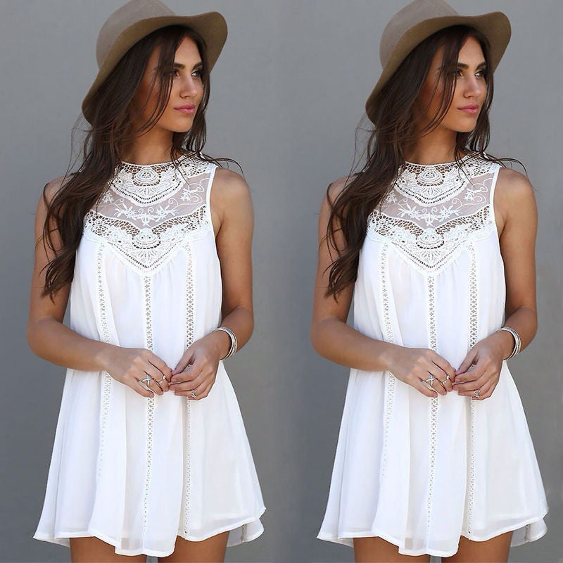 Women Lace Sleeveless Long  Blouse Shirt/ Short Mini Dress (S-XL)