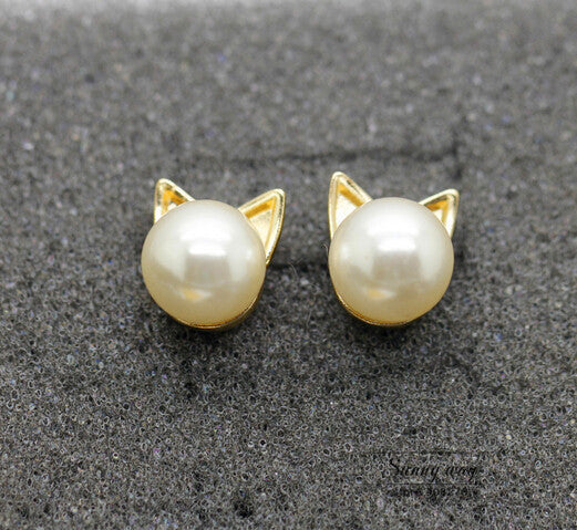 Cute Pearl Cat Head Studs Earrings
