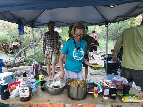 Camping food ideas for large groups, chile mac and cheese from FishSki