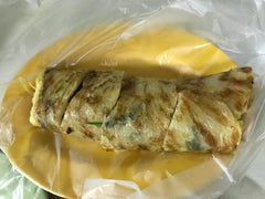 Taiwanese omelet wrapped in scallion pancake