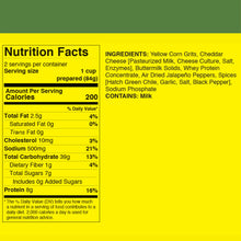 Nutrition Facts for FishSki Jalapeno Cheddar grits