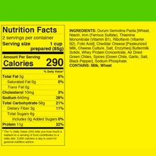 Nutrition facts for FishSki Hatch Green Chile macaroni and cheese