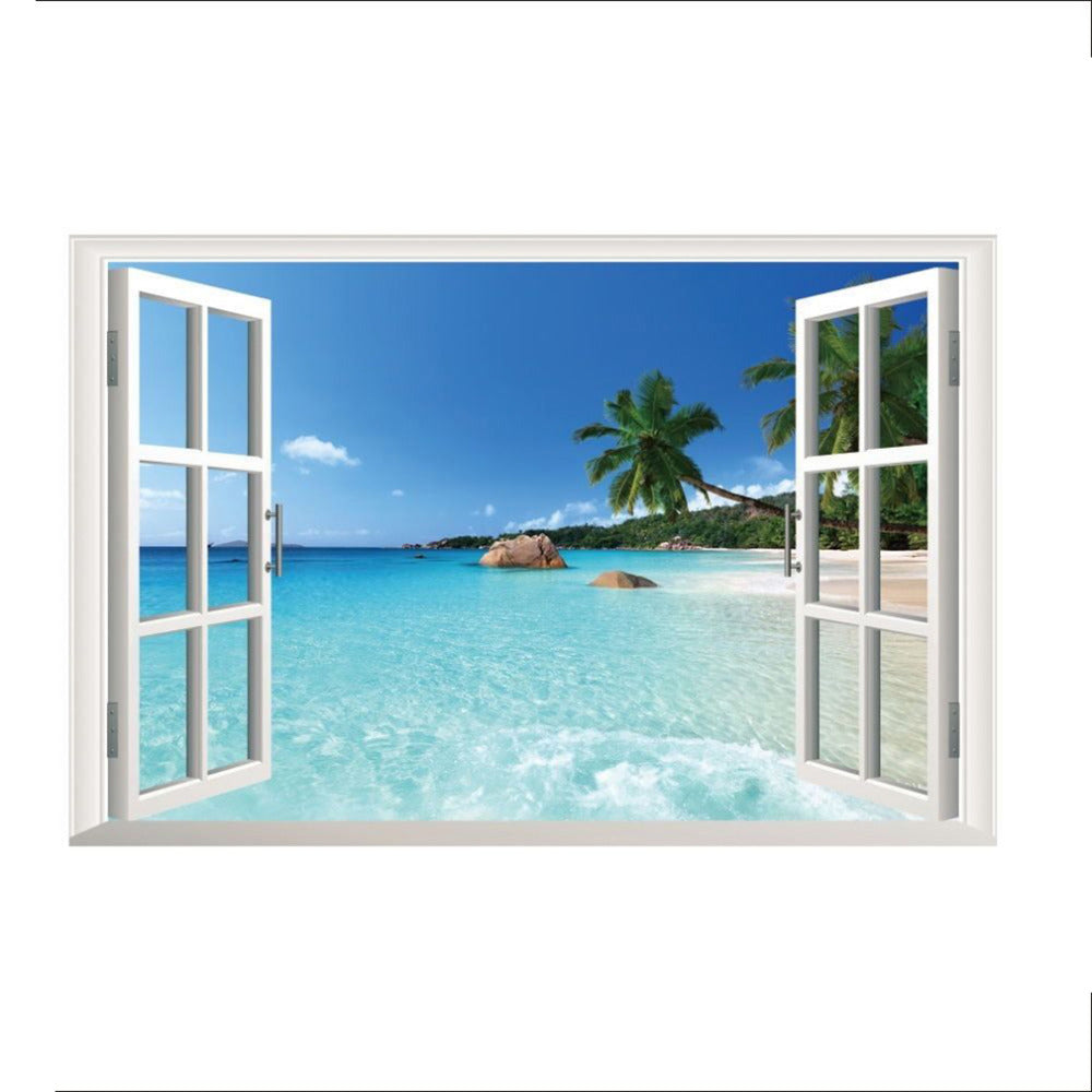 Beach Resort 3D Window View Removable Wall Art Sticker