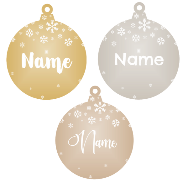 Add a name - Personalised Snowflake Christmas Ornament (Various Colours)