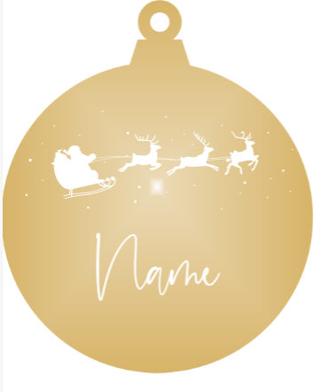 Add a name - Personalised flying Santa Christmas Ornament (Various Colours)