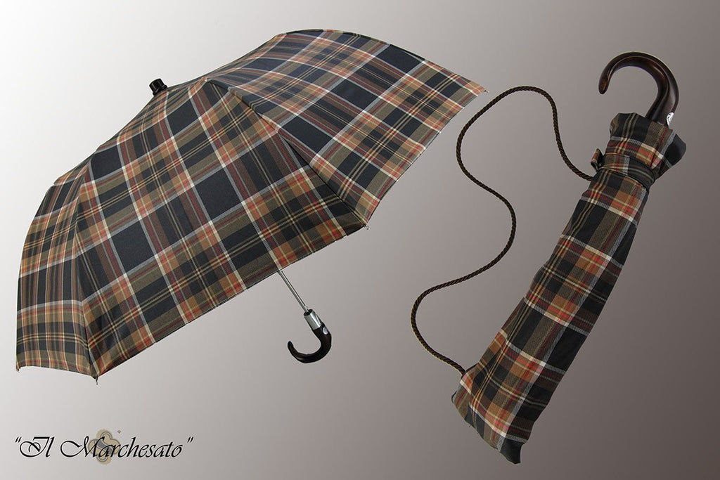 Multicolored - Handcrafted Men's Folding Umbrella - il-marchesato
