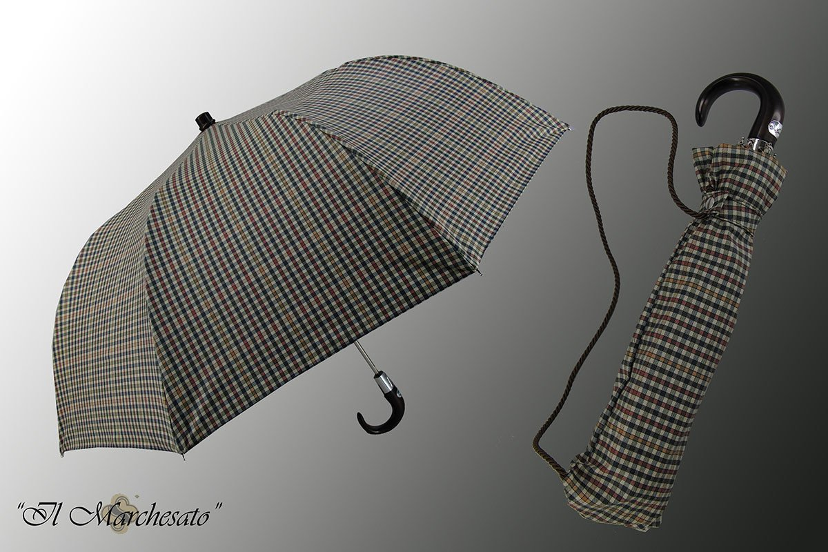 Handcrafted Men's Folding Umbrella with Italian Cotton - il-marchesato