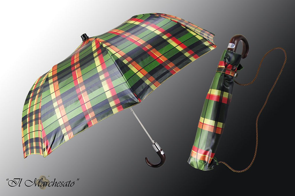 Handmade Italian Men's Folding Umbrella in  Scottish Design - il-marchesato