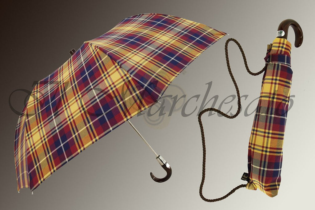 Handcrafted Men's Folding Umbrella in Tartan Design - il-marchesato