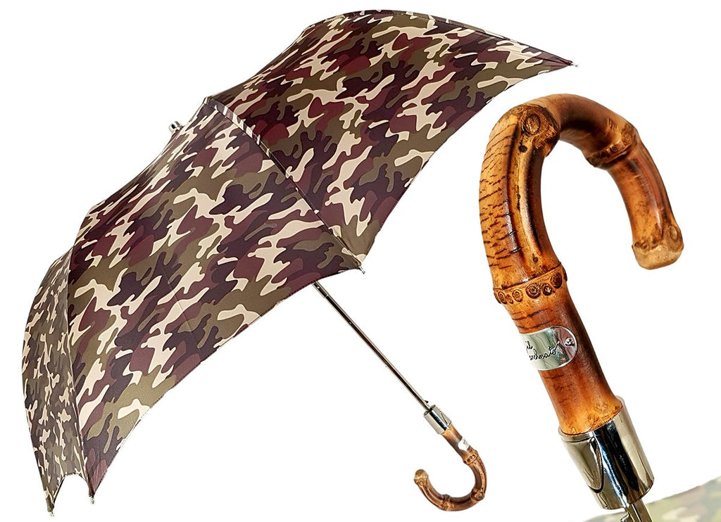 Camouflage Umbrella Folding With Bamboo Handle - il-marchesato