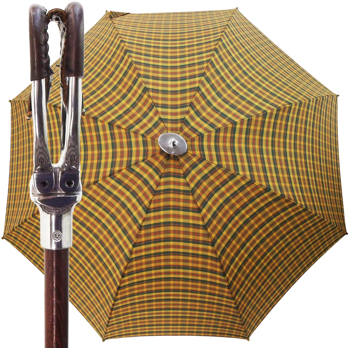 Handmade Leather Seat Umbrella- Multicolored Tartan