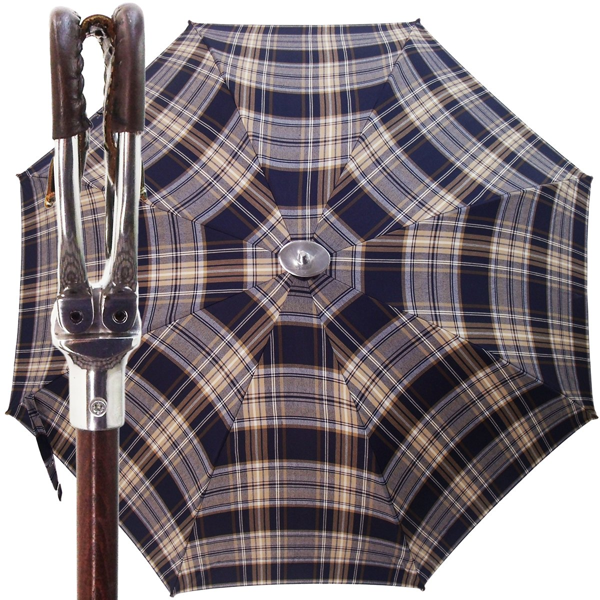 Handcrafted Leather Seat Umbrella- Blue  Beige