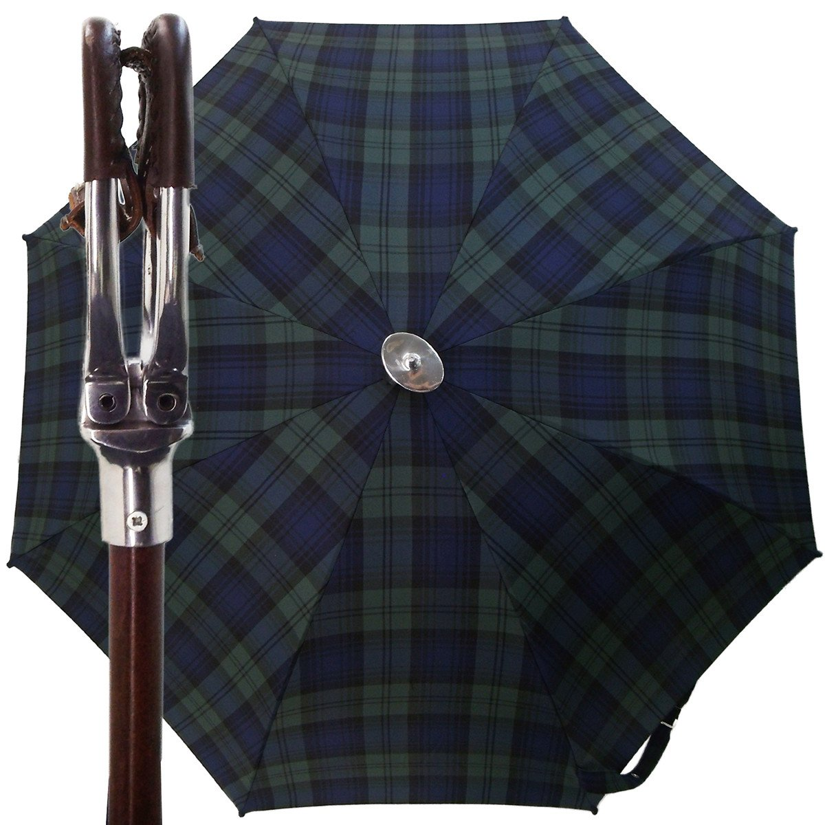 Handcrafted Leather Seat Umbrella- Black Watch Tartan - il-marchesato