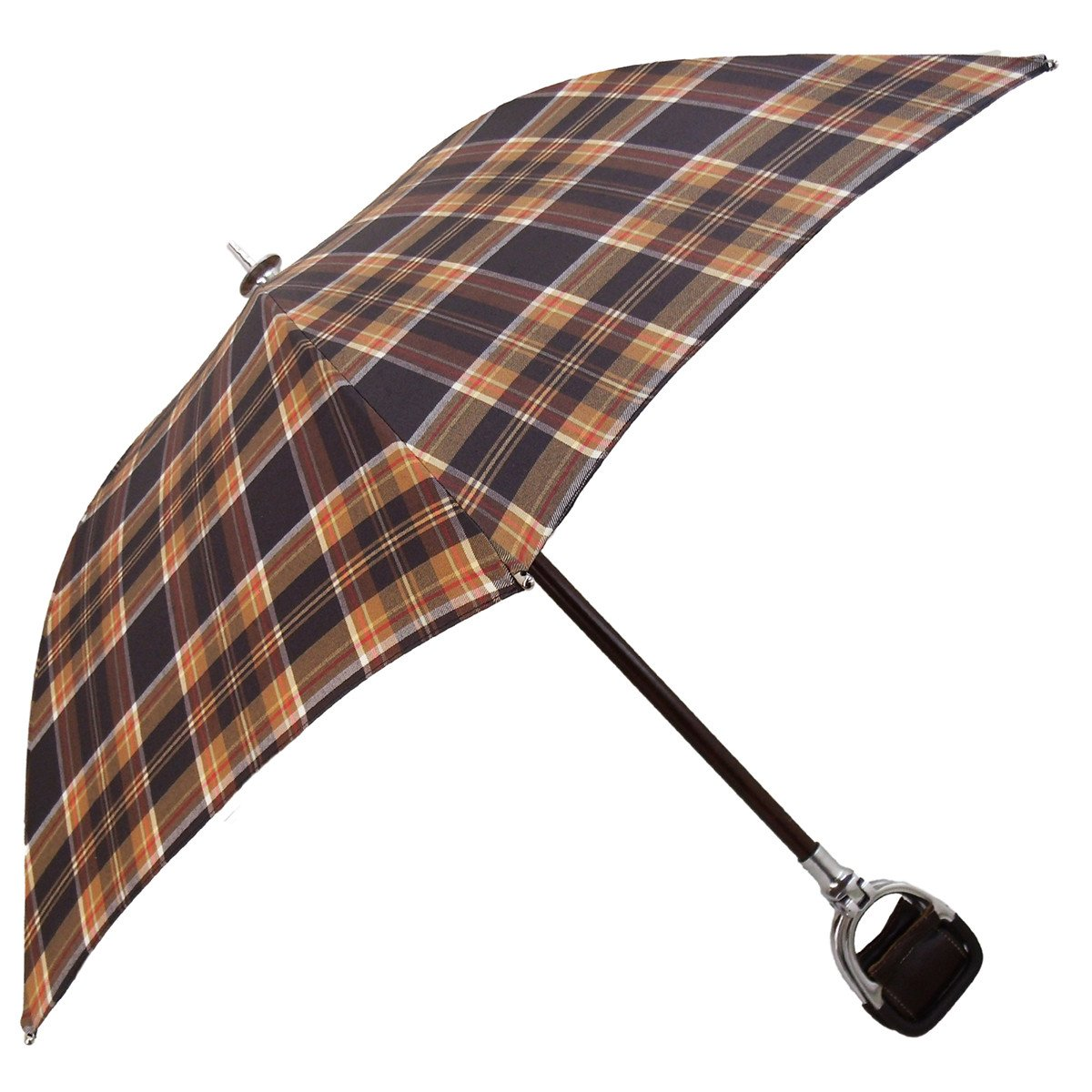 Handcrafted Leather Seat Umbrella- Brown Tartan - il-marchesato