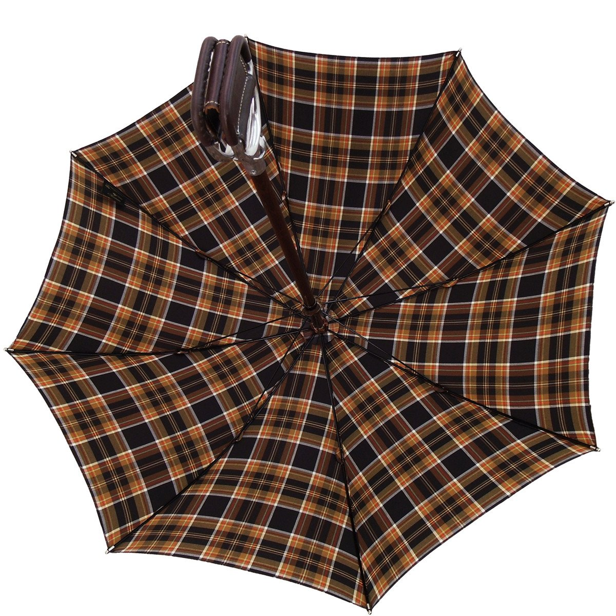 Handcrafted Leather Seat Umbrella- Brown Tartan
