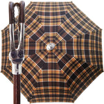 Load image into Gallery viewer, Handcrafted Leather Seat Umbrella- Brown Tartan - il-marchesato
