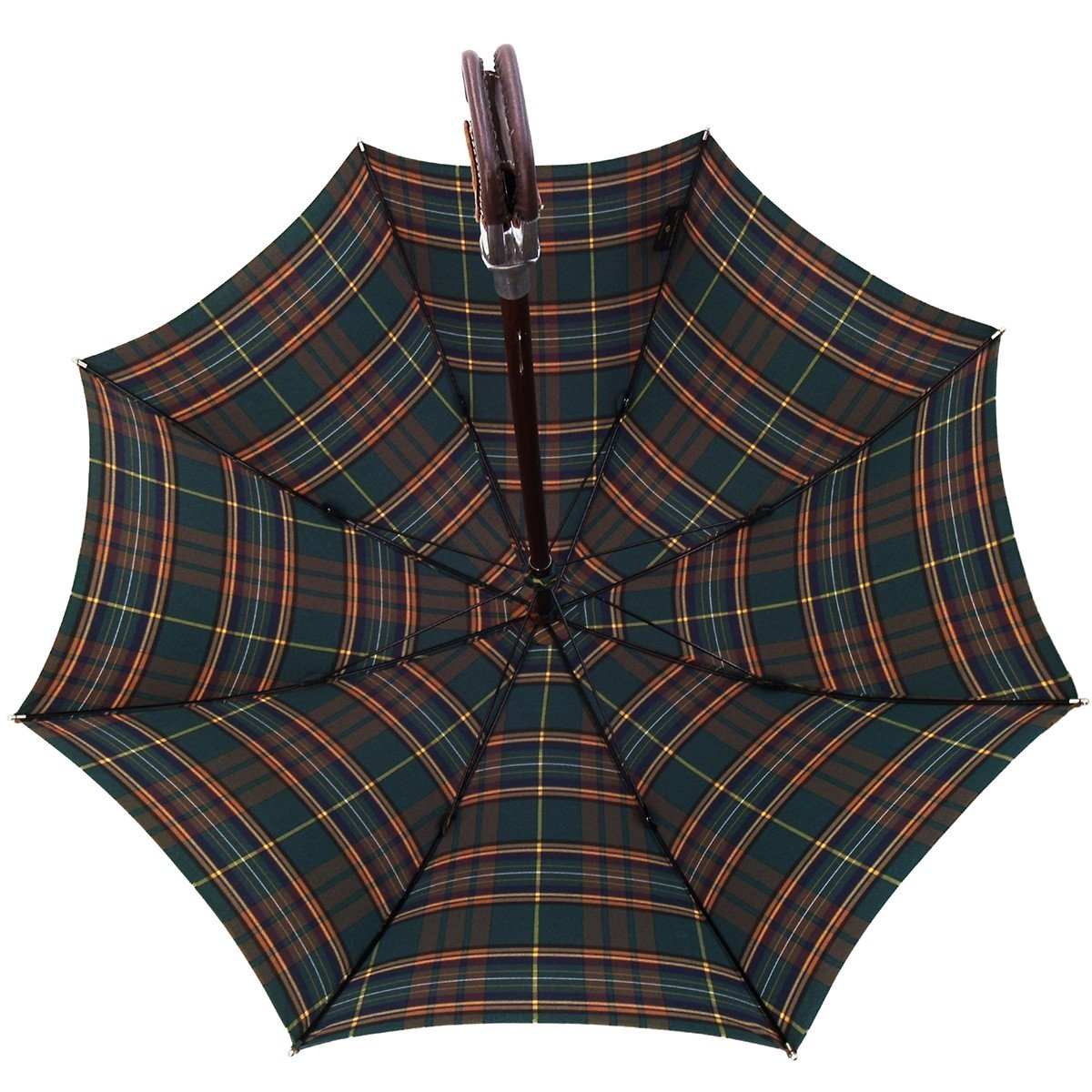 Handmade Leather Seat Umbrella- Green & Brown Tartan - il-marchesato