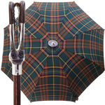 Load image into Gallery viewer, Handmade Leather Seat Umbrella- Green & Brown Tartan - il-marchesato