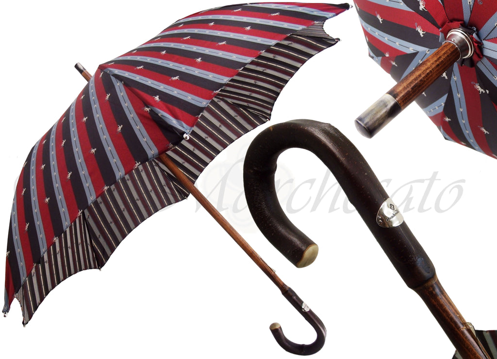 Multicolour Striped Umbrella - Natural Chestnut Wood-Handle - il-marchesato