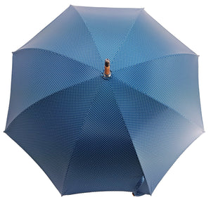 Handcrafted Petrol Blue Umbrella - Natural Chestnut Wood-Handle - il-marchesato