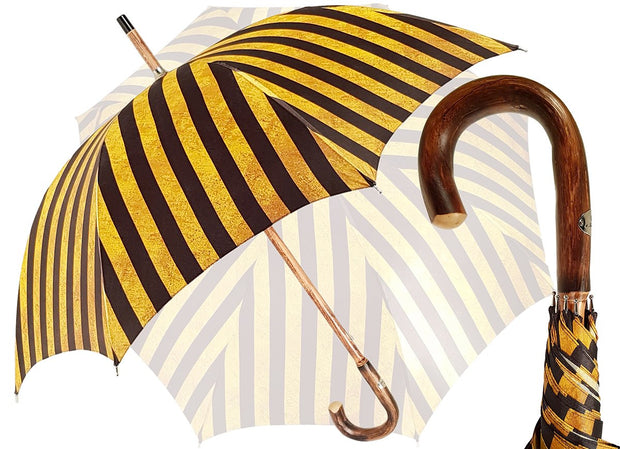 Handcrafted Umbrella - Striped Gold and Dark Brown  - Chestnut Wood-Handle - il-marchesato