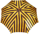Load image into Gallery viewer, Handcrafted Umbrella - Striped Gold and Dark Brown  - Chestnut Wood-Handle - il-marchesato