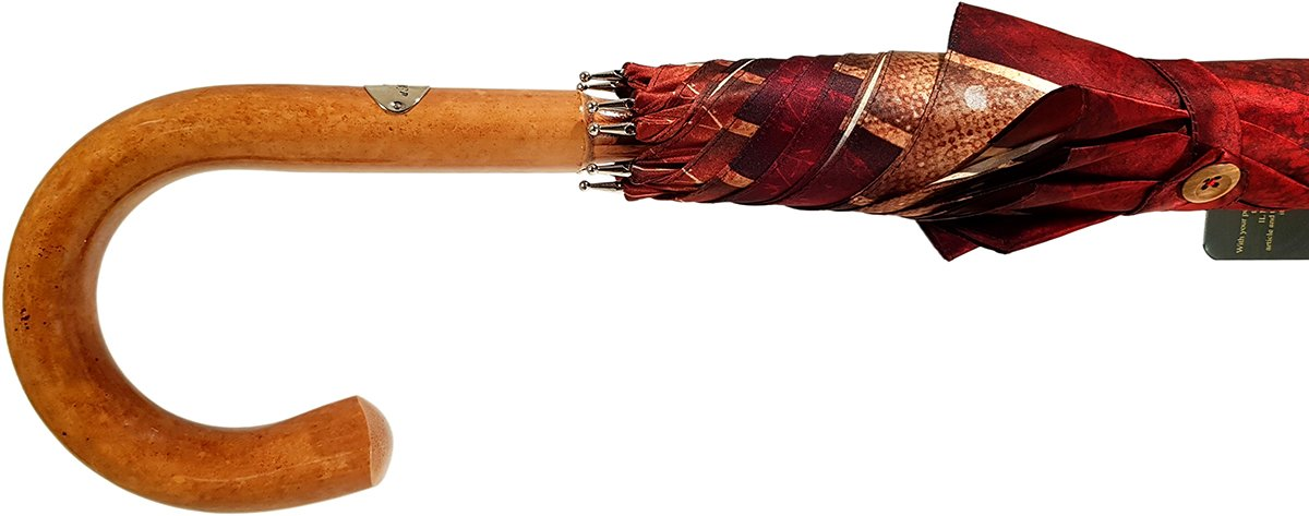 Handcrafted Umbrella - Striped Red And Cream - Shaded Colors - Malacca Wood-Handle