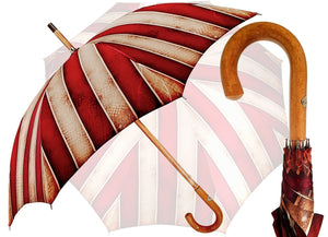 Handcrafted Umbrella - Striped Red And Cream - Shaded Colors - Malacca Legno - Impugnatura - il-marchesato