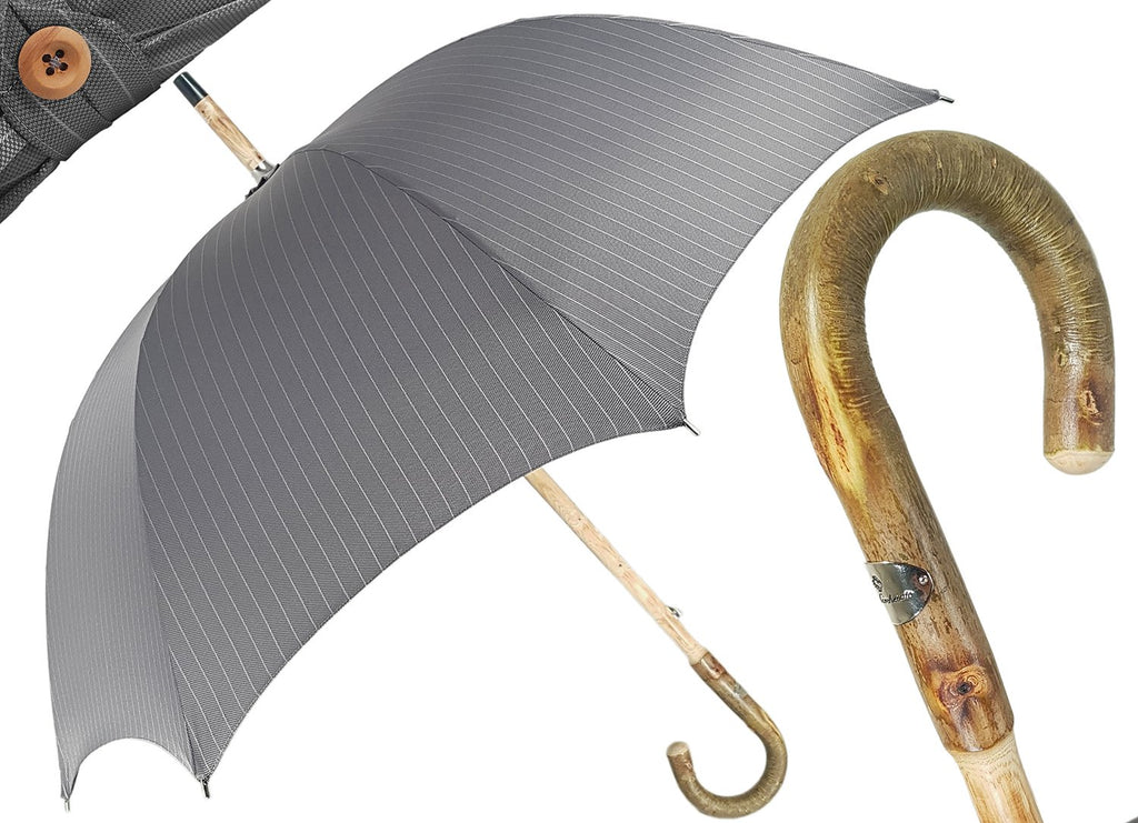 Handcrafted Grey Umbrella - Natural Ash Wood-Handle - il-marchesato
