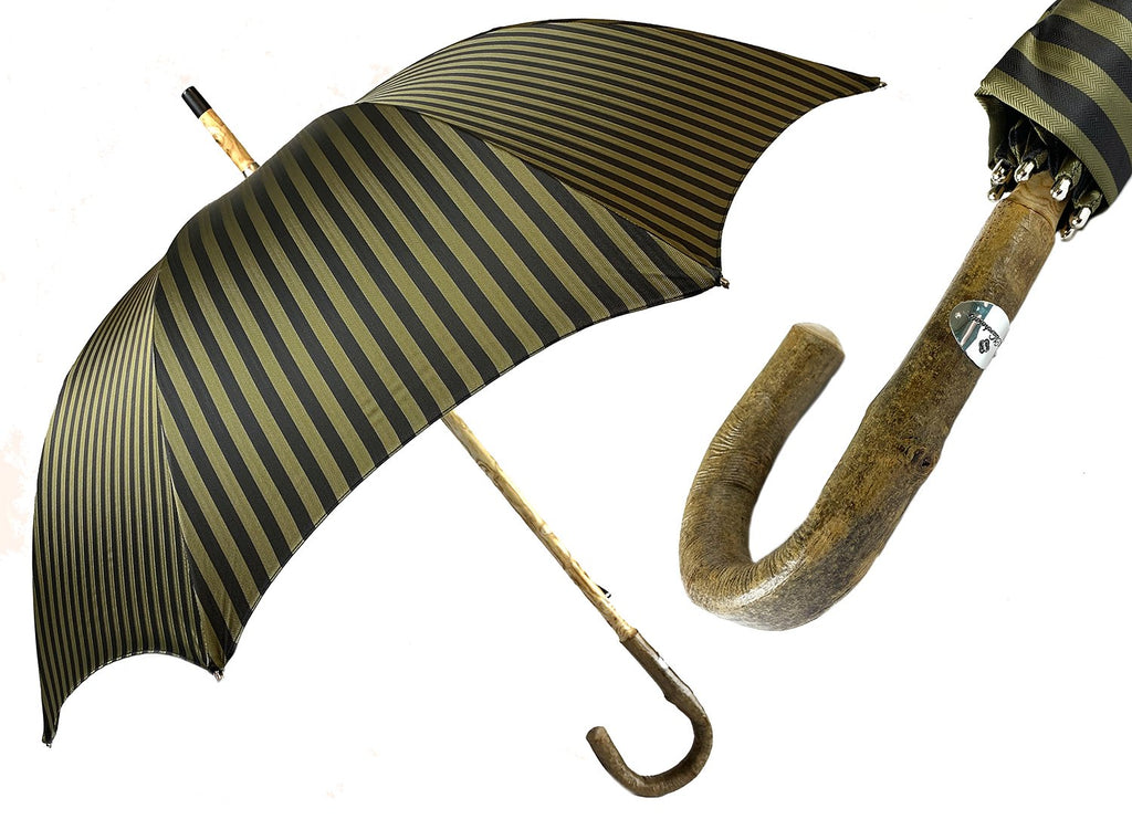 Handcrafted Dark Green striped Umbrella - Natural Ash Wood hand-curved - IL MARCHESATO LUXURY UMBRELLAS, CANES AND SHOEHORNS