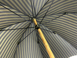 Load image into Gallery viewer, Handcrafted Dark Green striped Umbrella - Natural Ash Wood hand-curved - IL MARCHESATO LUXURY UMBRELLAS, CANES AND SHOEHORNS