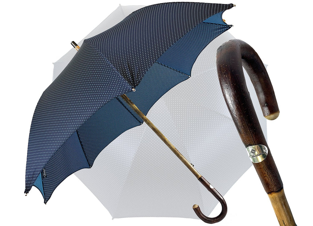 Elegant Blue umbrella with Natural Chestnut Wood hand-curved - IL MARCHESATO LUXURY UMBRELLAS, CANES AND SHOEHORNS